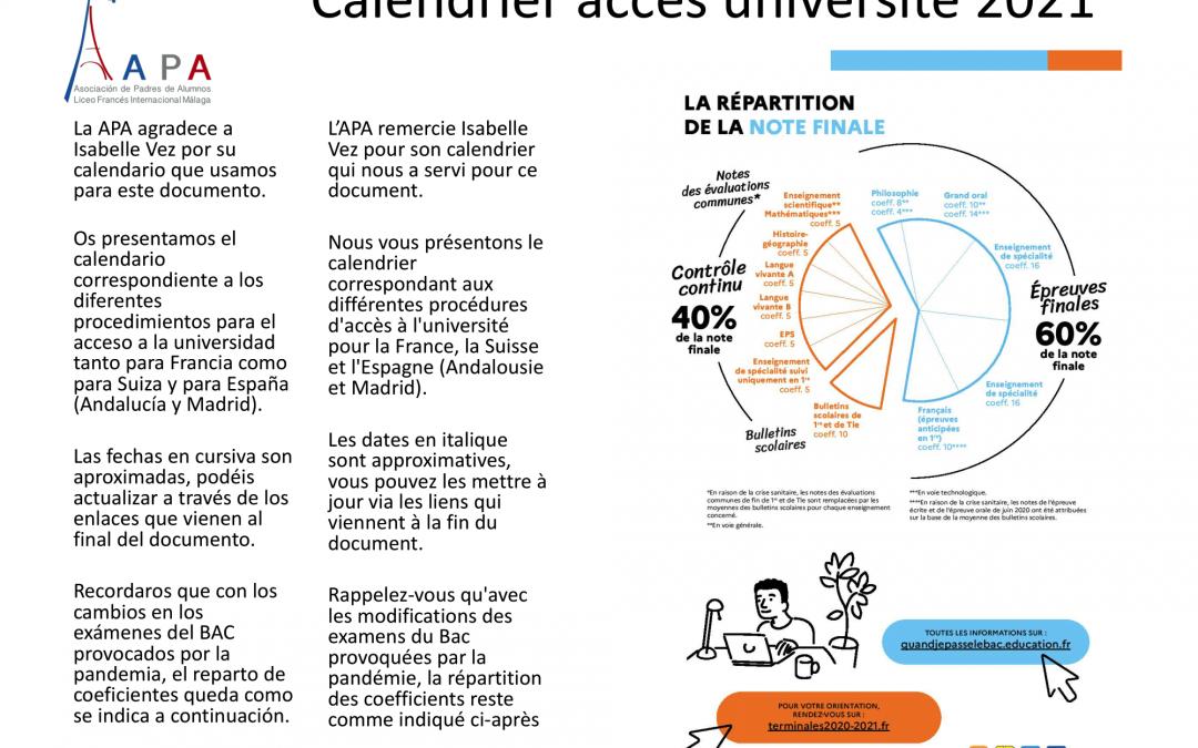 Calendrier accès universités 2021