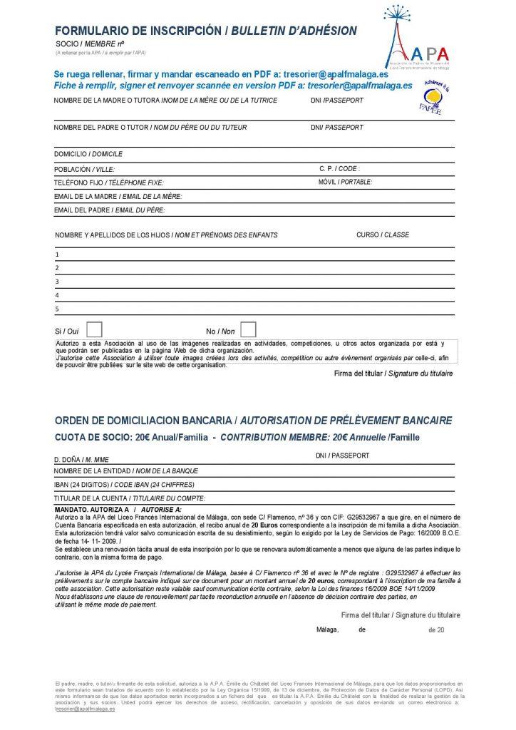 Inscripción a la APA